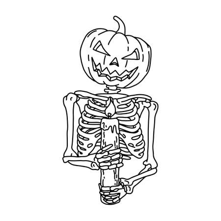 Halloween pumpkin in skeleton body holding big candle vector illustration sketch doodle hand drawn with black lines isolated on white background  イラスト・ベクター素材