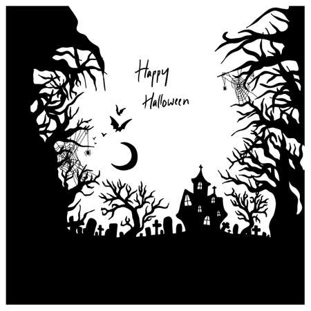 Halloween night with creepy castle vector illustration sketch doodle hand drawn with black lines isolated on white background.  イラスト・ベクター素材
