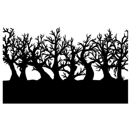 silhouette Halloween tree vector illustration sketch doodle hand drawn with black lines isolated on white background