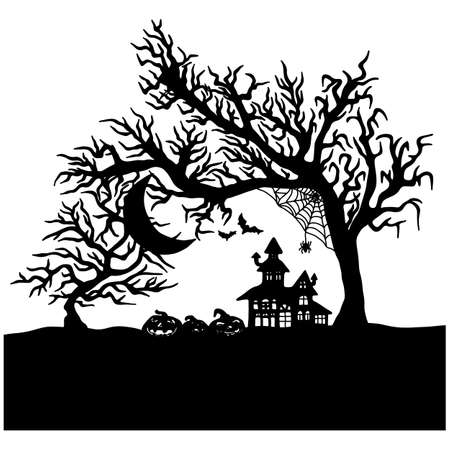 Halloween night with creepy castle vector illustration sketch doodle hand drawn with black lines isolated. Using for poster or any artworks.   イラスト・ベクター素材