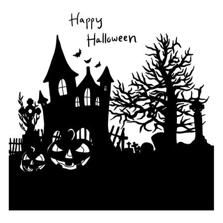 Halloween night background with silhouette castle vector illustration sketch doodle hand drawn with black lines isolated. Using for poster or any artworks.   イラスト・ベクター素材