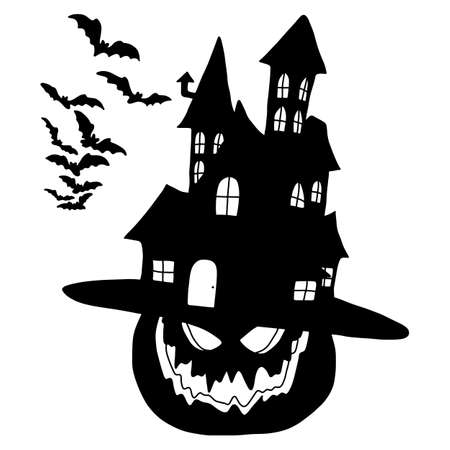 silhouette Halloween pumpkin with hat in the shape of castle vector illustration sketch doodle hand drawn with black lines isolated on white background  イラスト・ベクター素材