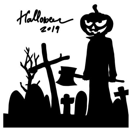 Halloween pumpkin man holding axe at the graveyard silhouette vector illustration sketch doodle hand drawn with black lines isolated on white background