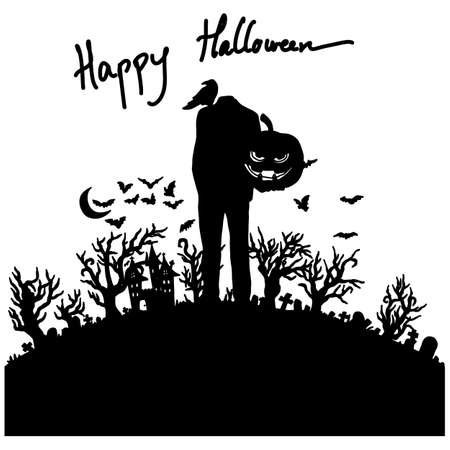 headless man with Halloween pumpkin standing on graveyard silhouette vector illustration sketch doodle hand drawn with black lines isolated on white background  イラスト・ベクター素材