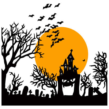 Halloween night with creepy castle on graveyard with big yellow moon vector illustration sketch doodle hand drawn with black lines isolated