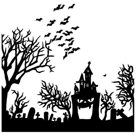 Halloween night with creepy castle on graveyard vector illustration sketch doodle hand drawn with black lines isolated