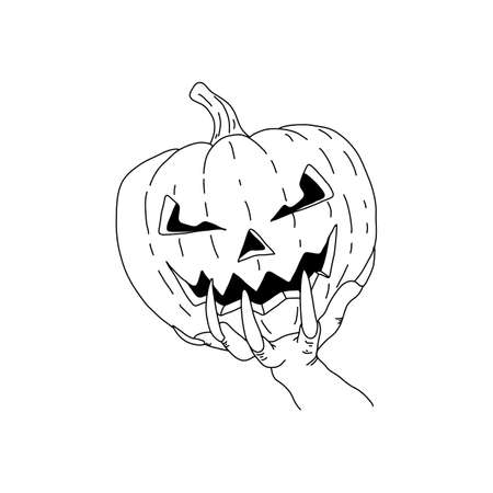 hand with long nails holding Hallowen pumpkin vector illustration sketch doodle hand drawn with black lines isolated on white background