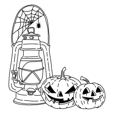 Holloween pumpkin and lantern with copyspace vector illustration sketch doodle hand drawn with black lines isolated on white background