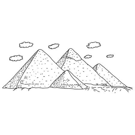 Egypt pyramids vector illustration sketch doodle hand drawn with black lines isolated on white background. Travel and Tourism Concept.