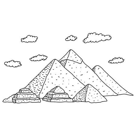 Egypt pyramids with clouds vector illustration sketch doodle hand drawn with black lines isolated on white background. Travel and Tourism Concept.  イラスト・ベクター素材