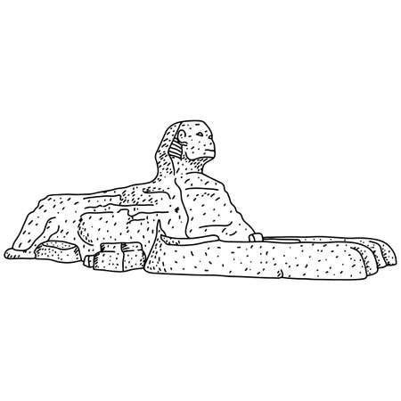 Egyptian sphinx at Giza vector illustration sketch doodle hand drawn with black lines isolated on white background
