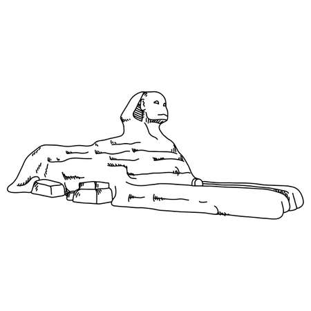 sphinx at Giza of Egypt vector illustration sketch doodle hand drawn with black lines isolated on white background. Travel and tourism concept.  イラスト・ベクター素材