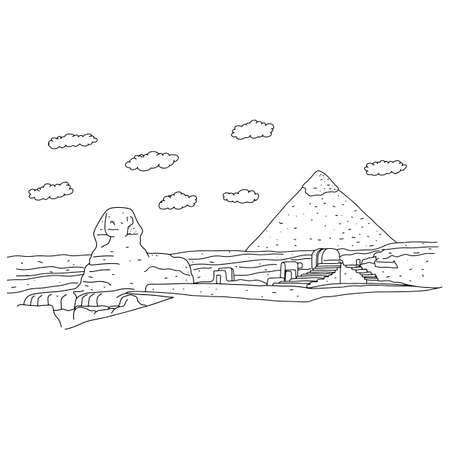 sphinx and pyramids at Giza of Egypt vector illustration sketch doodle hand drawn with black lines isolated on white background. Travel and tourism concept.