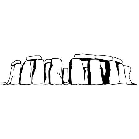 stonehenge vector illustration sketch doodle hand drawn with black lines isolated on white background. Travel and tourism concept.