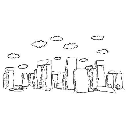 stonehenge with clouds vector illustration sketch doodle hand drawn with black lines isolated on white background. Travel and tourism concept.