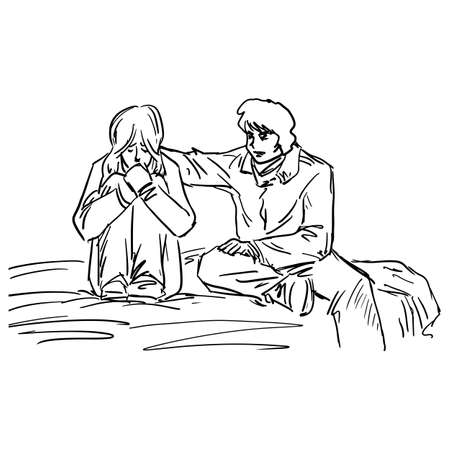 man touching woman head to comfort vector illustration sketch doodle hand drawn with black lines isolated on white background