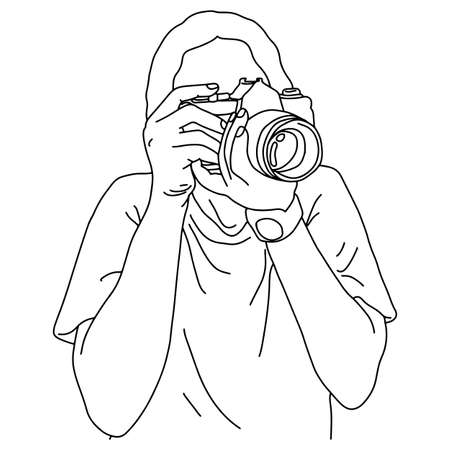 photographer taking shooting picture vector illustration sketch doodle hand drawn with black lines isolated on white background