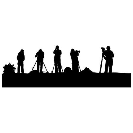 silhouette five photographer taking photo from the back view vector illustration sketch doodle hand drawn with black lines isolated on white background