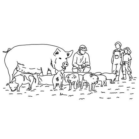 farmer with pigs and children vector illustration sketch doodle hand drawn with black lines isolated on white background