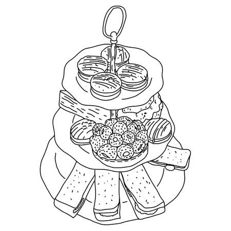 macaron and sweets on dishes vector illustration sketch doodle hand drawn with black lines isolated on white background 免版税图像 - 132415454