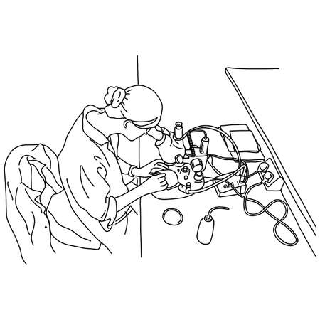 young woman using microscopes in the laboratory vector illustration sketch doodle hand drawn with black lines isolated on white background. Medical concept. Illustration