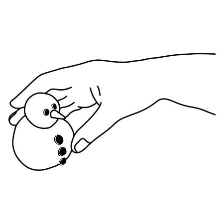 hand holding very small snowman vector illustration sketch doodle hand drawn with black lines isolated on white background