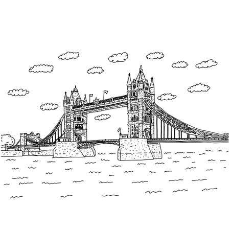 London Tower Bridge with clouds vector illustration sketch doodle hand drawn with black lines isolated on white background. European Landmark.