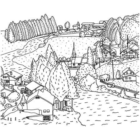 countryside landscape with house and river vector illustration sketch doodle hand drawn with black lines isolated on white background