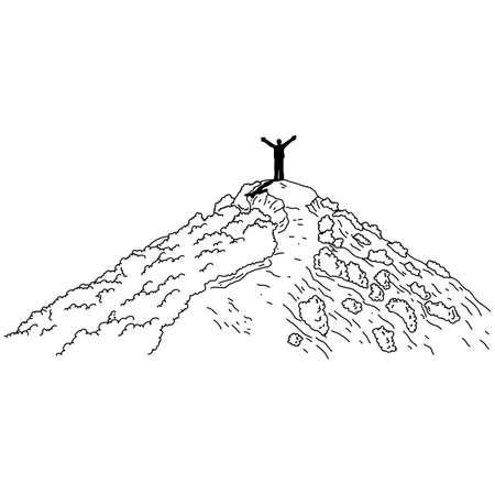 silhouette of man hand up on top of the mountain vector illustration sketch doodle hand drawn with black lines isolated on white background
