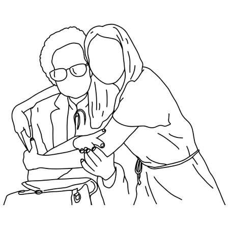 母と女性は、白い背景に隔離された黒い線で描かれたお互いのベクトルイラストスケッチ落書き手を抱きしめる