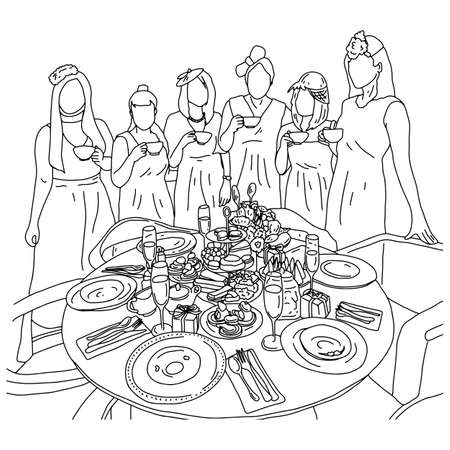 five women having afternoon tea with desserts on table vector illustration sketch doodle hand drawn with black lines isolated on white background Ilustração