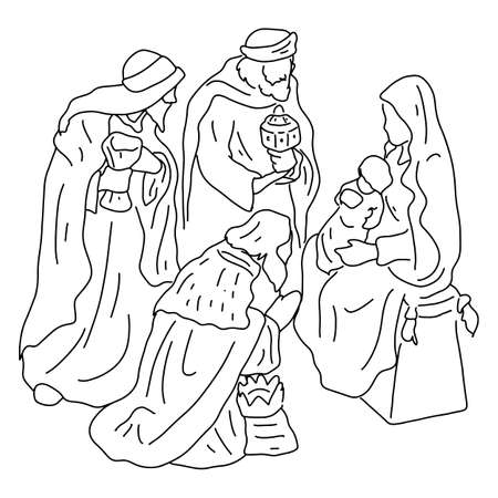 three wise men with Jesus and mary vector illustration sketch doodle hand drawn with black lines isolated on white background. Christmas holiday concept.
