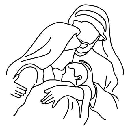 close-up Christmas nativity scene of Joseph and Mary holding baby Jesus vector illustration sketch doodle hand drawn with black lines isolated on white background  イラスト・ベクター素材