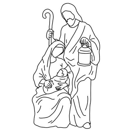 Christmas nativity scene of Joseph with cane and Mary holding baby Jesus vector illustration sketch doodle hand drawn with black lines isolated on white background