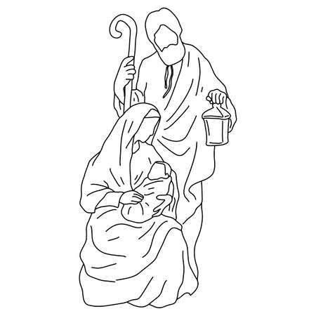 nativity scene of Joseph with cane and Mary holding baby Jesus vector illustration sketch doodle hand drawn with black lines isolated on white background