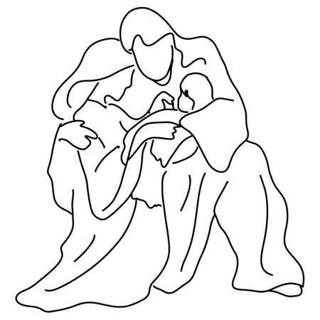 Christmas nativity scene of Joseph and Mary holding baby Jesus vector illustration sketch doodle hand drawn with black lines isolated on white background