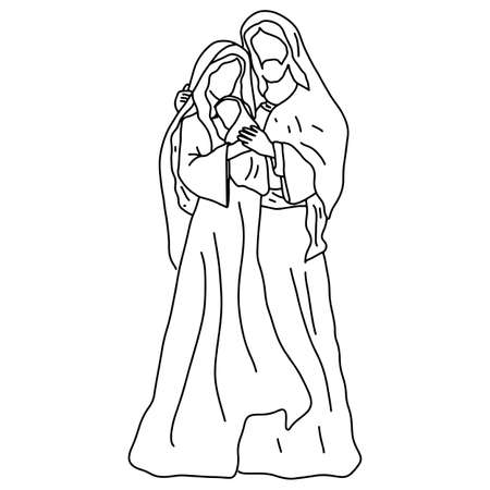 Christmas nativity scene of Joseph and Mary holding baby Jesus vector illustration sketch doodle hand drawn isolated on white background