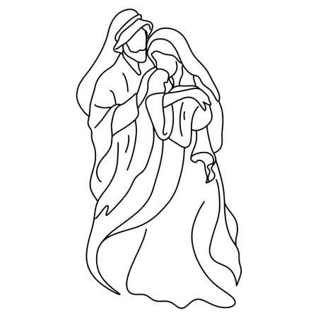 Joseph and Mary holding baby Jesus vector illustration sketch doodle hand drawn isolated on white background. Christmas nativity scene