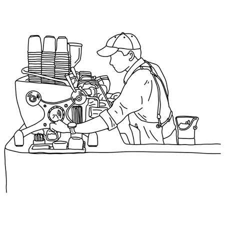 Young male barista standing in front of the counter with coffee machine in the coffee shop vector illustration sketch doodle hand drawn with black lines isolated on white background