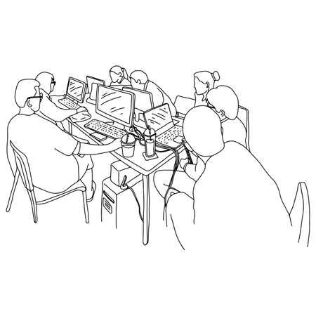 Business people having board meeting with laptop on table vector illustration sketch doodle hand drawn with black lines isolated on white background