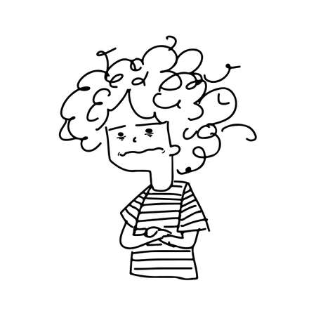 woman with depressed emotion vector illustration sketch doodle hand drawn with black lines isolated on white background  イラスト・ベクター素材