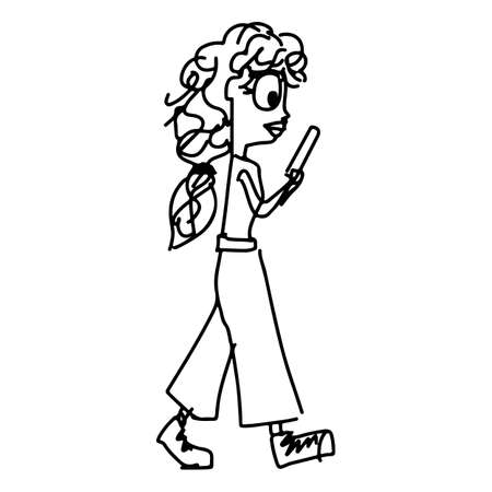 woman using smartphone while walking vector illustration sketch doodle hand drawn with black lines isolated on white background