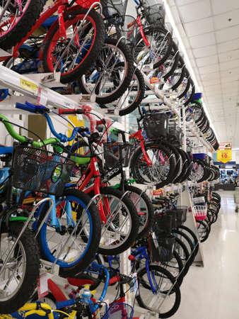 CHIANG RAI, THAILAND - NOVEMBER 20 : bicycle sold on shelf on supermarket on November 20, 2019 in Chiang Rai, Thailand.