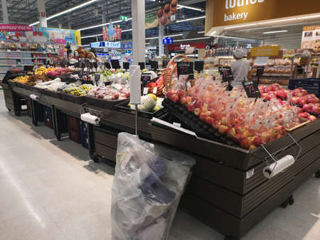 CHIANG RAI, THAILAND - NOVEMBER 21 : various kinds of vegetables sold on supermarket display shelf on November 21, 2019 in Chiang Rai, Thailand.