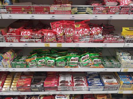 CHIANG RAI, THAILAND - NOVEMBER 21 : various brand of chocolate sold on supermarket display shelf on November 21, 2019 in Chiang Rai, Thailand. Editorial