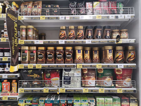 CHIANG RAI, THAILAND - NOVEMBER 21 : various brand of coffee sold on supermarket display shelf on November 21, 2019 in Chiang Rai, Thailand.