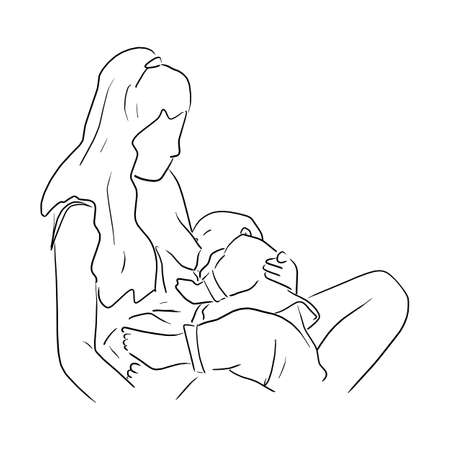 Mom breastfeeding baby vector illustration sketch doodle hand drawn with black lines isolated on white background