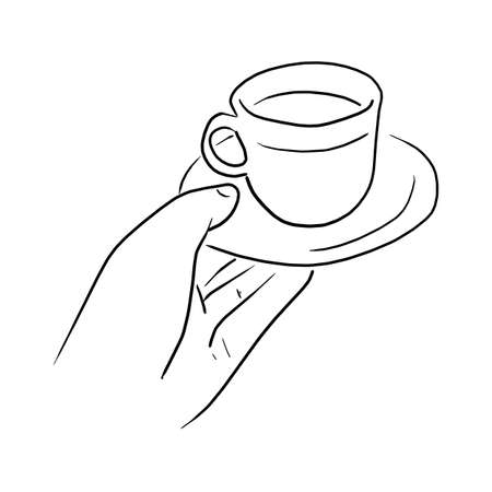 hand holding hot coffee cup vector illustration sketch doodle hand drawn with black lines isolated on white background  イラスト・ベクター素材