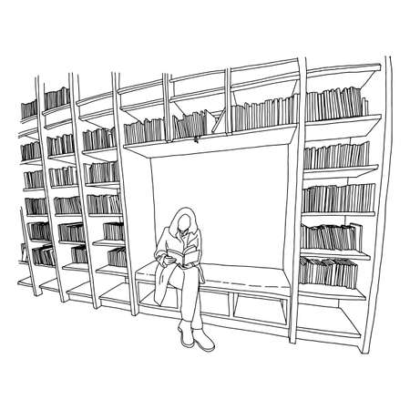 woman reading book in library with copyspace vector illustration sketch doodle hand drawn with black lines isolated on white background