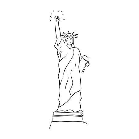 estatua de la libertad con signo de mano de amor ilustración vectorial boceto dibujado a mano con líneas negras aisladas sobre fondo blanco Ilustración de vector